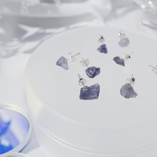 Raw Tanzanite 925 silver earrings December Birthstone
