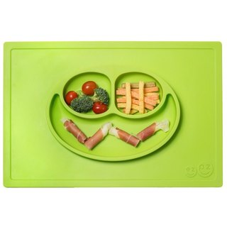 US EZPZ Dinner Plate - Apple Green HAPPY MAT silicone non-toxic cutlery