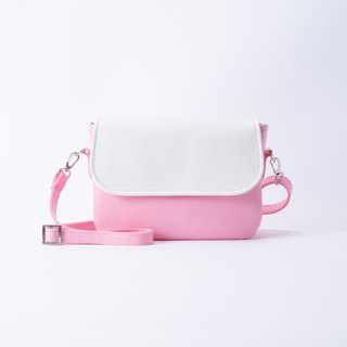 Round Rounded Side Backpack White X Pink