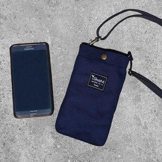 Extremely simple canvas cell phone pocket - dark blue (slanted back / neck hanging / small bag)