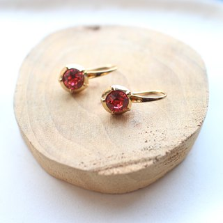 Romantic red-Brass earrings
