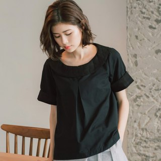 Terrace Night Embroidery Round Neck Short Sleeve Top