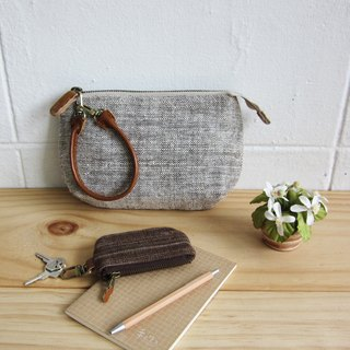 Multi Purpose Pouch with Leather Strap Botanical Dyed Cotton Natural-Brown Color