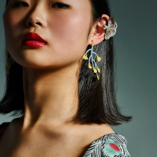 ARRO / Embroidery / Earrings / Branched / Yellow