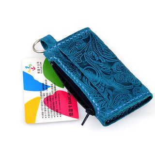 【U6.JP6 handmade leather goods】 - hand-made leather blue-green card purse (men and women apply)