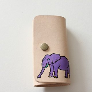 Key Case / Natural Purple Elephant