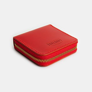 Square zip coin purse / card / banknote Buttero vegetable tanned leather Fali red - GSW01R