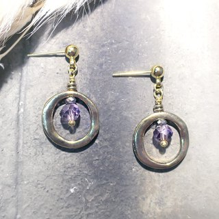 VIIART. Big circle - purple. Vintage gold amethyst earrings - can be clipped