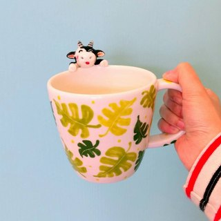 Drink a cup of drink with you hand-made mug version about 400c.c