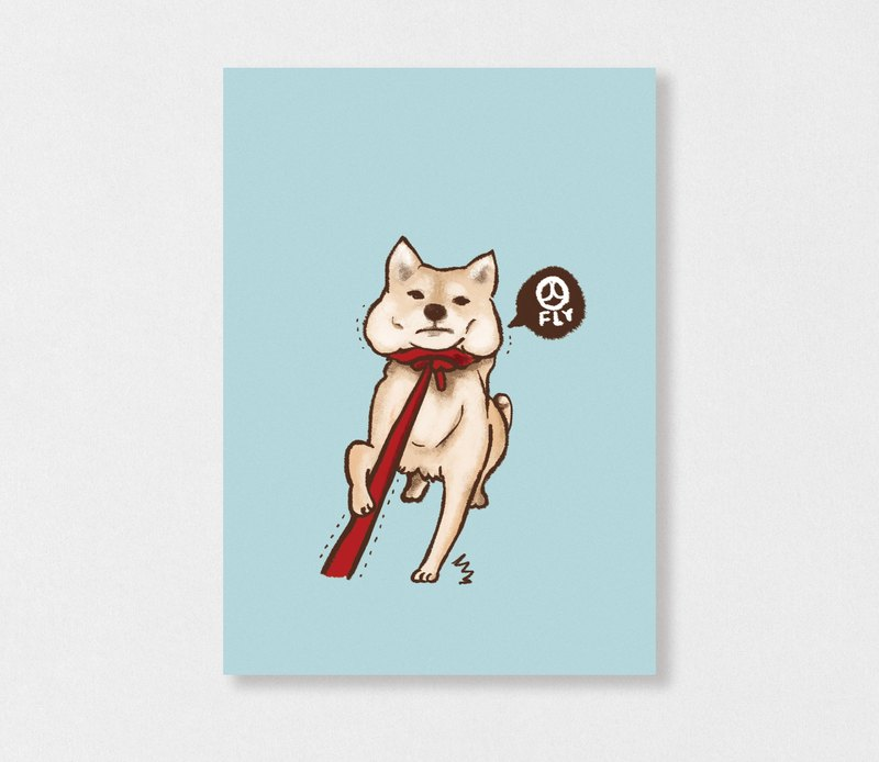 """Shiba Inu Taoka 12 -300"" Planet Flies / Shiba Inu / wool kids / illustration postcards / Hands Bazaar"