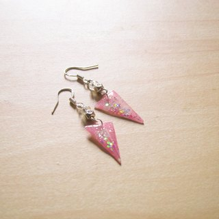 Triangle colorful // 2nd use Accessories / Accessories Cloth / fabric earrings