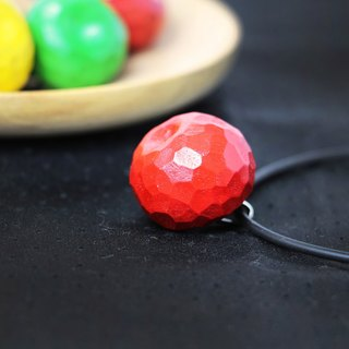Cute wooden round apple necklace--leather rope necklace--woodcut--handmade--hand made [can pick color]