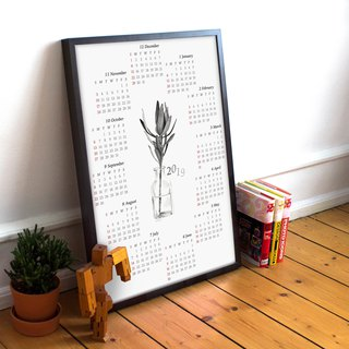 2019 Simple Plant Theme Calendar Poster Print, Wall Calendar, Holiday gift
