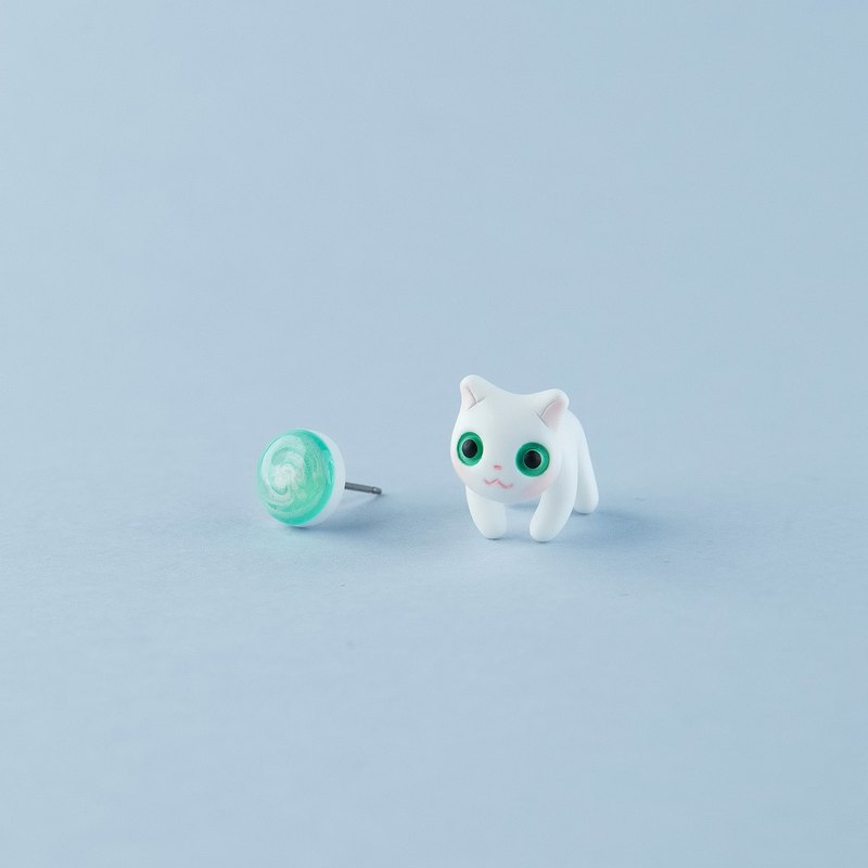Selkirk Rex Cat - Polymer Clay Earrings, Handmade&Handpaited