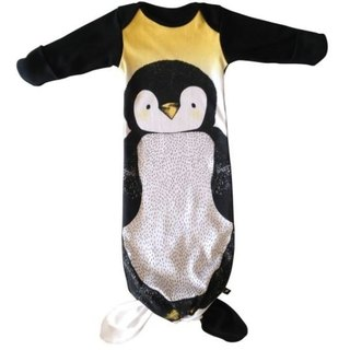 Cute fat penguin kicking sleeping bag