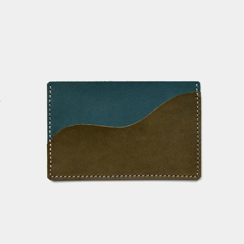 [shaking olive juice] vegetable tanned leather business card holder olive X green leather card holder lettering gift