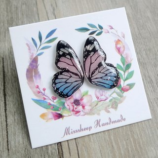 Misssheep-BW10-Butterfly Wings Series - Blue Pink Handmade Earrings (Auricular / Transparent Ear Clips)