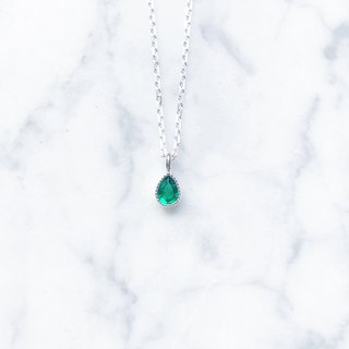 ::Shimmer Light Series:: Ice Drops (Emerald) Basic Cut Silver Clavicle Chain