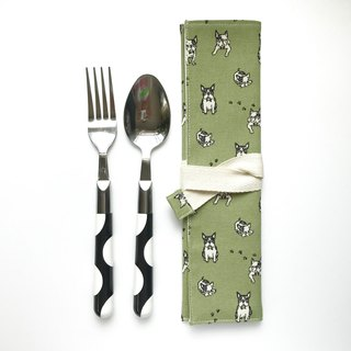 Cutlery Bag | French Bulldog | Green | ECO