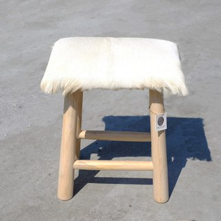 Puyudan pure white goat hide stool