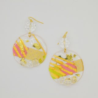 Brighting WHITE - Dream Ice Stone - glossy color hand-painted crystal particles baked earrings handmade ear clip