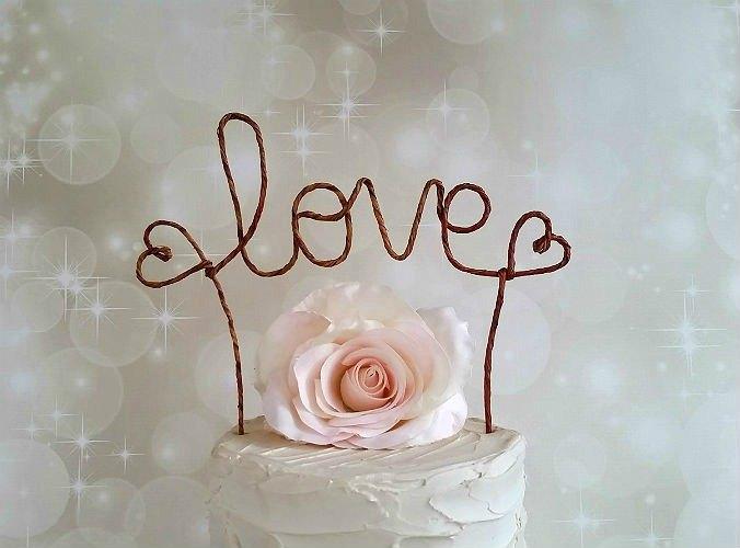 Love Rustic Cake Topper Banner Rustic Wedding Cake Topper Custom
