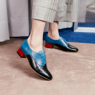 H THREE round head Oxford 3.4 heel / black with blue / with shoes
