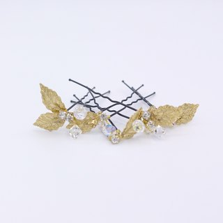 Gold-plated Leaf Crystal Hair Pin