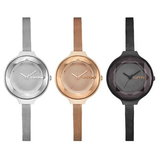 {Rumba Time} New York fashionable watch brand Orchard Gem Mesh- Black Diamond / rose gold / silver fashion