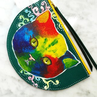 Hand painted pattern face cat coin purse / mobile phone bag / wallet / clutch
