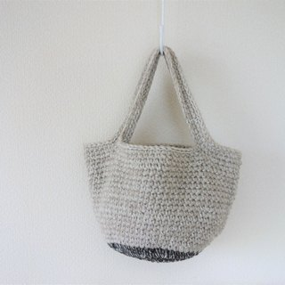 yuoworks / Wool tote bag / shoulder bag / gray and light brown