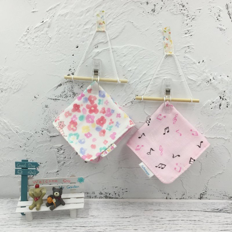 G25-soft soft gauze handkerchief (six layers of gauze) double-sided pattern watercolor cat & flying music