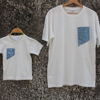 Free-dye isvara hand-dyed blue dye batik cotton T-shirt Cosmic Series Entrance / Parent-child play / Family happy / children's wear