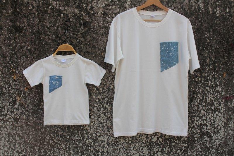 自在染isvara 手工藍染蠟染 純棉T-shirt 宇宙系列 入口   /親子裝/全家幸福裝/童裝