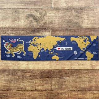 Make World map making sports towel (blue and yellow tiger screaming B)