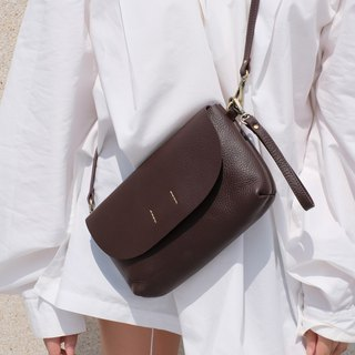 ABBIE - Dark brown / Minimal crossbody leather bag-genuine chamois leather