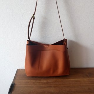 Mini Shoulder Leather Bag / Brown Tan Cross-body Leather Bag.