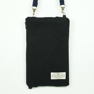 HAZA touch dual phone bag / passport bag (with hook strap) Black