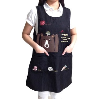 [BEAR BOY] mercerized cotton 6-pocket aprons - mushrooms and bears - black
