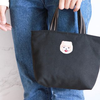 Pomeranian embroidery green tote bag