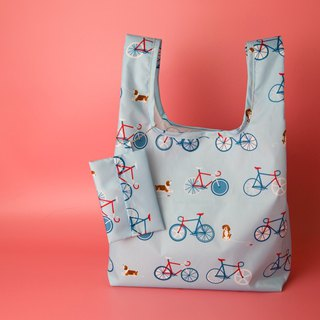 Pu.sozo cloth hand-made dog and bicycle / waterproof shopping bag / side backpack / beverage bag / picnic bag