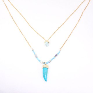 Traces of travel │ turquoise multi-layer beaded necklace