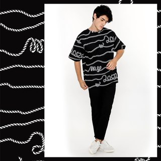 Oversize tshirt cotton printed rope rope