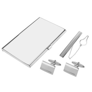 Silver Grid Cufflinks Tie Clip and Card Holder Set