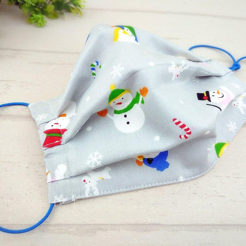 歡樂雪人-3色可選。有壓條有開口棉質布口罩