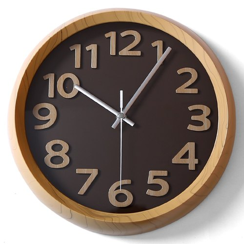 【019014-01】 a.cerco Fami wall clock - wood frame word series (colored optional) - wood frame / coffee at the end