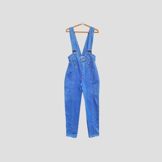Discolored vintage / Royal blue denim suspenders no.092 vintage