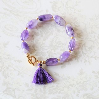 Amethyst bracelet - irregular amethyst with toggle clasp 18k gold plated tassel