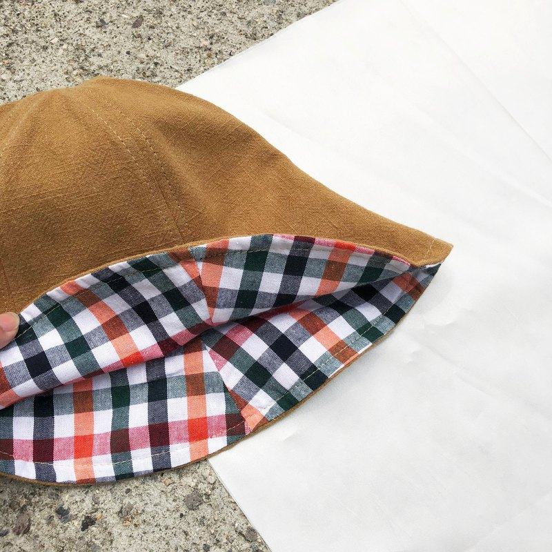 Plaid / Cotton print / double-sided use bucket hat