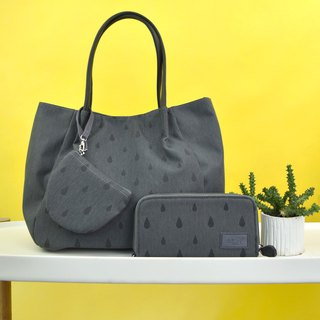 goody bag -Tote and Wallet dark gray set